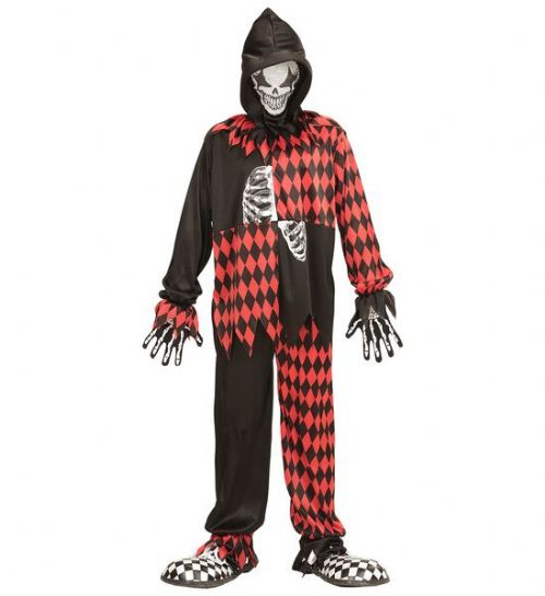 Childrens Evil Jester Costume Circus Fancy Dress